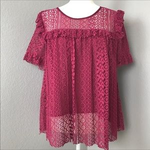 Entro Maroon Lace Blouse B9